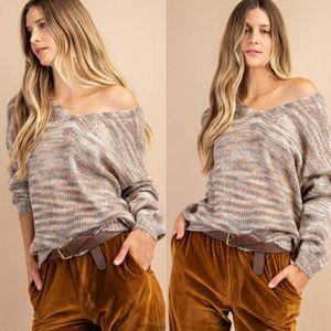 Grace Marled Stripe V Neck Sweater
